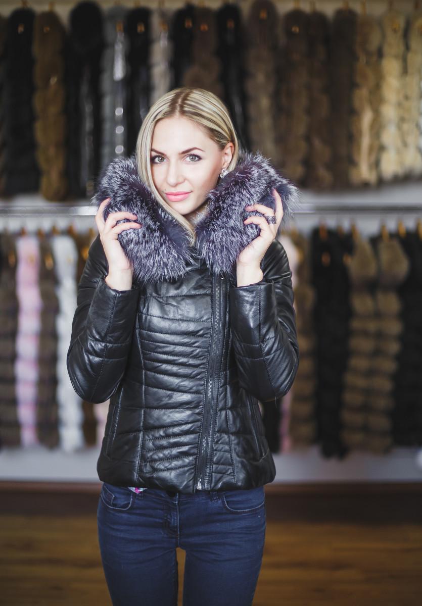 7a5dcec3b6c Купить Кожаную куртку трансформер с шикарным капюшоном из чернобурки -  Киев