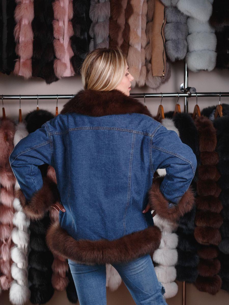 Купить Джинсовую куртку с мехом песца - Киев, Одесса, Харьков, Днепр фото d9438df3e3f